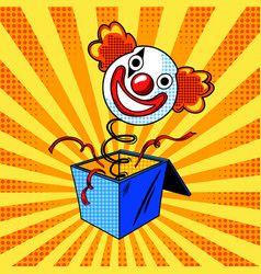Toy clown head on spring comic book style vector