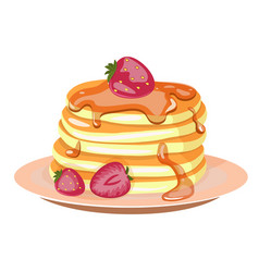 traditional pancakes with strawberries maple vector image
