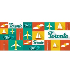 travel and tourism icons Toronto vector image