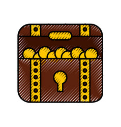 Treasure chest game icon vector