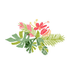 tropical colorful leaf bouquet doodle style vector image
