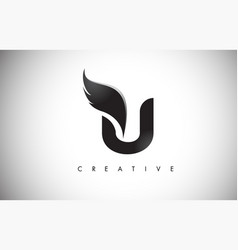 U letter wings logo design with black bird fly vector