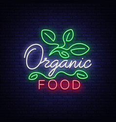 vegan logo in neon style neon symbol bright vector image