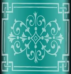 Vintage Dark Cyan Background Design with Floral vector