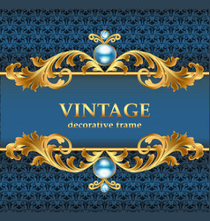 Vintage gold frame on a blue jewelry background vector
