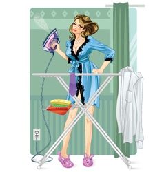 woman ironing vector image
