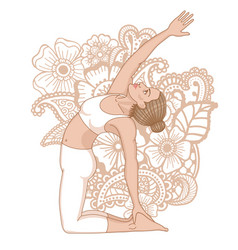 Women silhouette revolved camel yoga pose vector