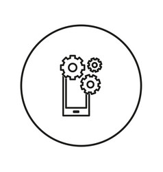 work phone gear icon line a vector image