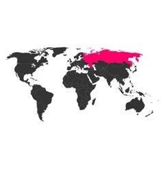 World map with highlighted Russia vector image