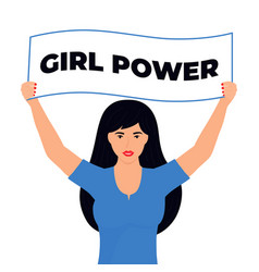 Young modern girl with banners girl power vector