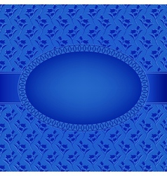 blue card with oval frame on flowers background vector image vector image