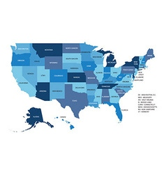 Blue map of United States Of America isolated on vector image