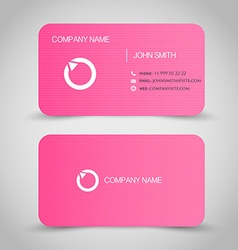 Business card set template pink color round vector