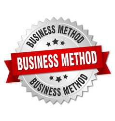 Business method round isolated silver badge vector