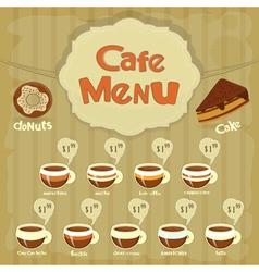 cafe menu coffee vector image vector image