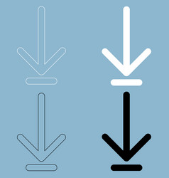 down arrow or load symbol the black and white vector image vector image