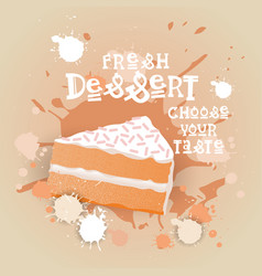 fresh dessert banner colorful cake sweet beautiful vector image