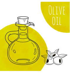 hand drawn olive oil bottle with green watercolor vector image vector image