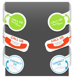 Left and right side signs - contact us and call us vector