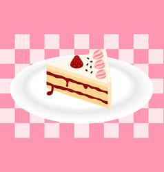 Strawberry cake on plate vector