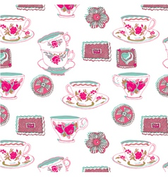 tea cup wallpaper vector image vector image