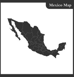 the detailed map of the mexico with regions vector image