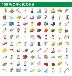 100 work icons set cartoon style vector image vector image