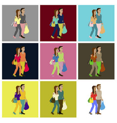 assembly flat icons guy and girl with shopping vector image