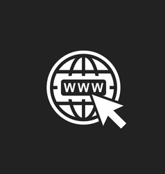 Go to web icon internet flat for website on black vector
