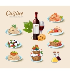 Italian cuisine icons set in cartoon style vector image vector image