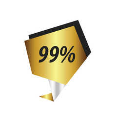 ninety nine percent label gold silver vector image