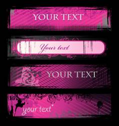 set of pink grunge banners vector image vector image