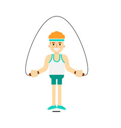 Sporty boy jumping with skipping rope vector