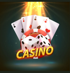 casino dice banner signboard on background vector image
