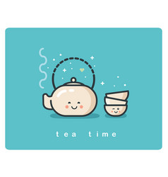 flat icon of tea time tea pot and cups cute vector image vector image