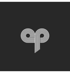 Logo op letters monogram thin line combination o vector image