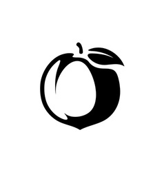 Peach fruit silhouette monochrome black vector image