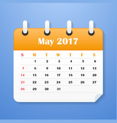 usa calendar for may 2017 week starts on sunday vector image
