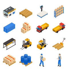 warehouse isometric decorative icons set vector image