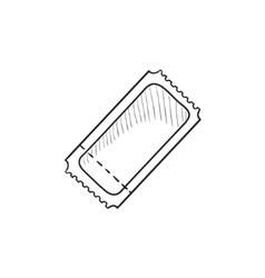 Cinema ticket sketch icon vector image