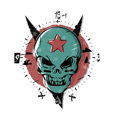 evil skull with a star on his forehead gothic vector image