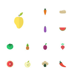 flat icons praties mango ananas and other vector image vector image