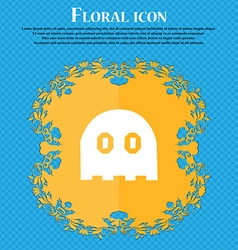 Ghost icon sign floral flat design on a blue vector
