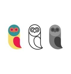 Owl logo birds set thin line monogram silhouette vector