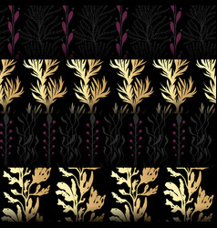 set of seamless patterns with seaweeds vector image vector image