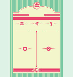 1950s diner style background and frame vector