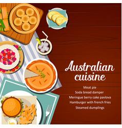 Australian cuisine food menu meals dishes cover vector