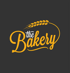 Bakery vintage lettering logo with wheat on black vector