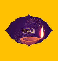 beautiful diwali card design for festival of light vector image