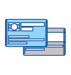 blue contour of credit card with chip vector image
